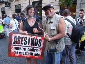 Photo: Ricardo Valdez, en Madrid participando en las marchas por los derechos humanos.