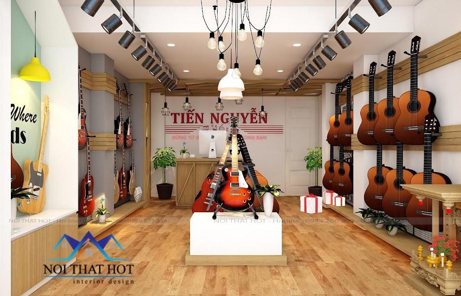 thiết kế cửa hàng đàn guitar