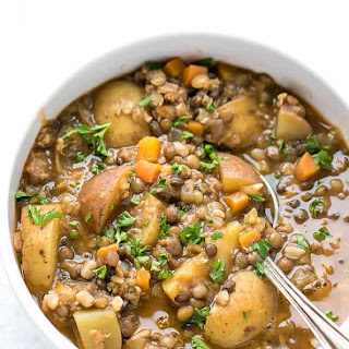 Easy Lentil Potato Soup.