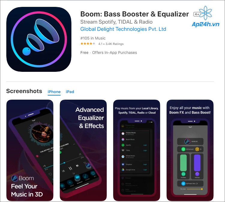 Người dùng có điều chỉnh tới 16 âm tần iPhone với Boom