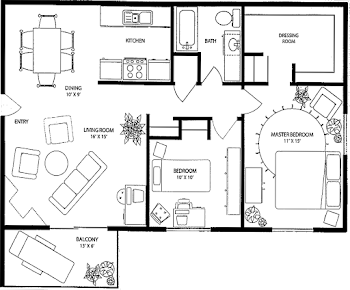 Go to Two Bed, One Bath Floorplan page.