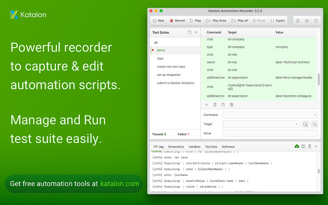 Katalon Recorder (Selenium tests generator)