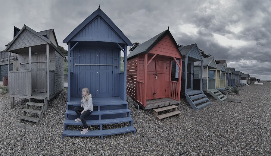 Beach Hut Girl, Herne Bay, Kent by Phil Clarkstone - Landscapes Beaches