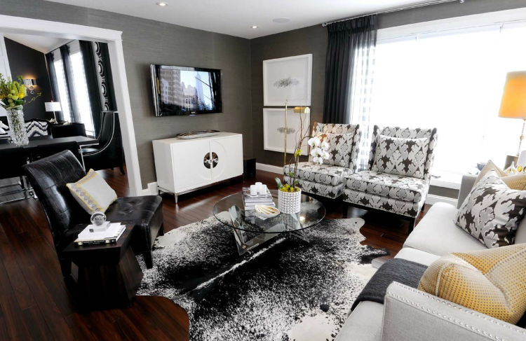 How to decorate in black and white hotpads blog for Black n white living room