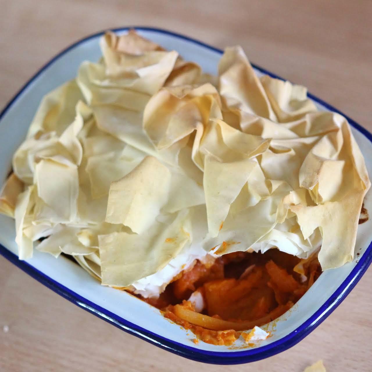 Vegan Thai Butternut Squash Filo Pie
