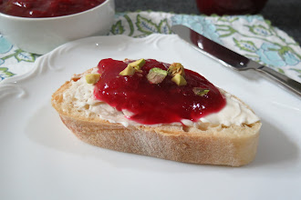 Photo: Cranberry Orange Cream Cheese Crostinis - Toasted baguette topped with cream cheese, homemade cranberry orange jam and pistachios.  http://www.peanutbutterandpeppers.com/2012/11/19/jamming-away/  #crostini   #appetizers   #cranberryjam   #creamcheese   #pistachios