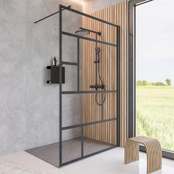 Paroi de douche fixe à l'italienne verrière, 90, 100, 120, 140 cm, style atelier industriel, profilé noir