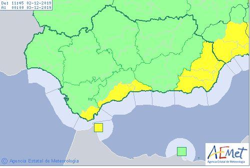 Mapa de Andalucía previsto para este lunes, 2 de diciembre.