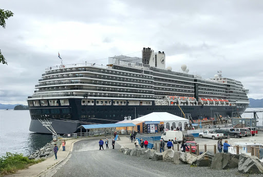 Holland America's ms Oosterdam docked in Sitka, Alaska.