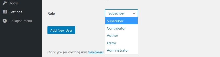 WordPress default user roles