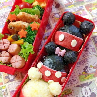 Easy Kyaraben (Character Lunch Box) Onigiris Featuring Mickey, Minnie and Pooh