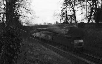 Photo: A up train emerging from Cornbury Park Bridge (April 1972)
