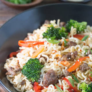 Asian-Style Pork and Noodles with Fresh Vegetables.