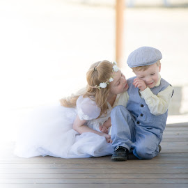 Big Sister by Kellie Jones - Babies & Children Children Candids ( little girl all dressed on whit, little boy blue, sibling love, farm porch,  )