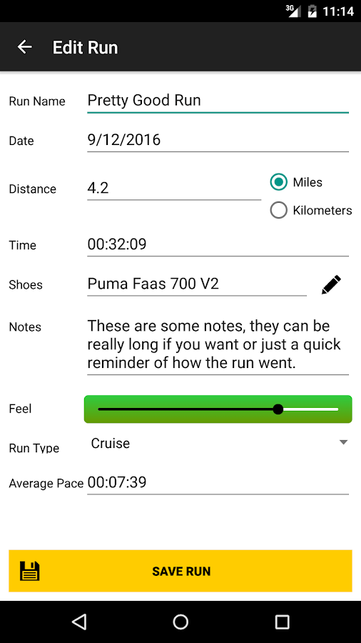 Elite Running Log- screenshot