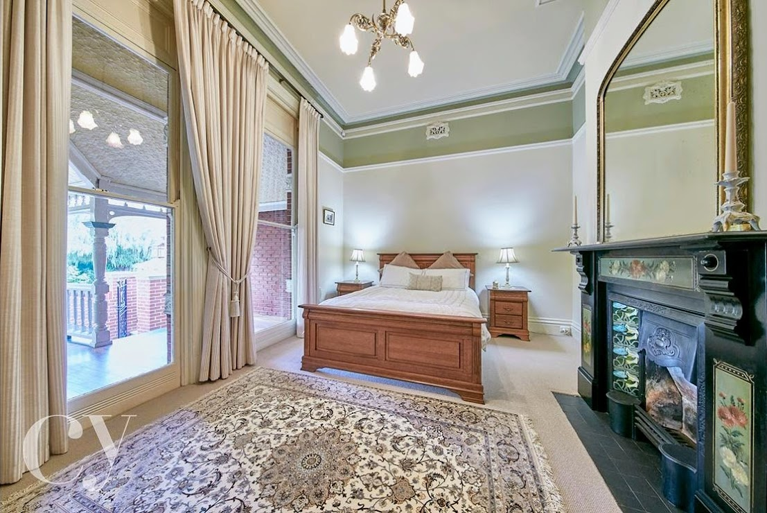 Bedrooms all feature original fireplaces, decorative ceilings and garden vistas