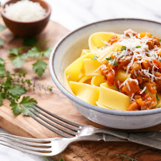 Pumkin Bolognese with Pappardelle Pasta.