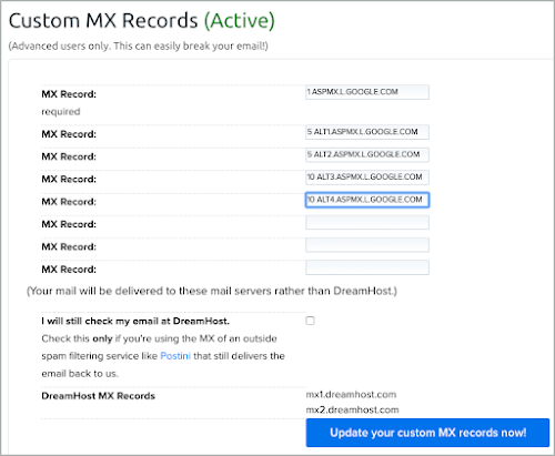 All 5 MX records have been added to the Dreamhost DNS records.