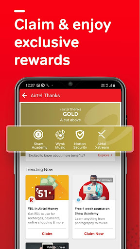 Airtel Thanks - Recharge, Bill Pay, Bank, Live TV android2mod screenshots 5