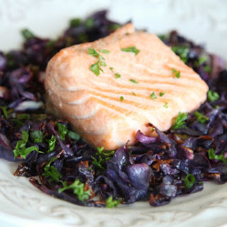 One Sheet-Pan Roasted Salmon and Red Cabbage