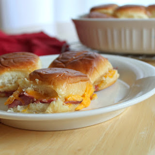 Hot Roast Beef and Cheddar Sliders.