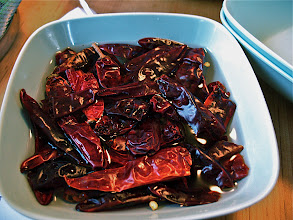Photo: soaking dried red chillies for sausage spice mixture