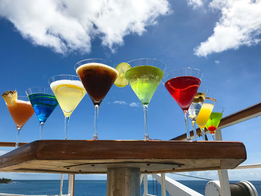 wind-surf-cocktail-lineup.jpg - A Windstar manager was lining up these cocktails for a photo shoot when I said, I'll take one too.