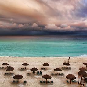 Royal Islander Beach by Dennis Granzow - Landscapes Waterscapes ( cancun, sandy beach, dramatic clouds, mexico, seascape, caribbean )