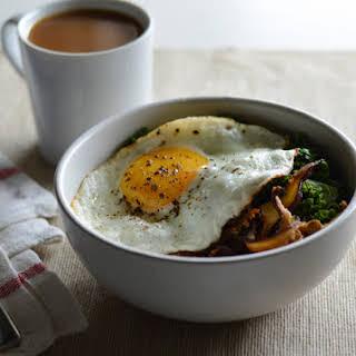 Savory Oatmeal with Shiitake Bacon, Kale and a Fried Egg.