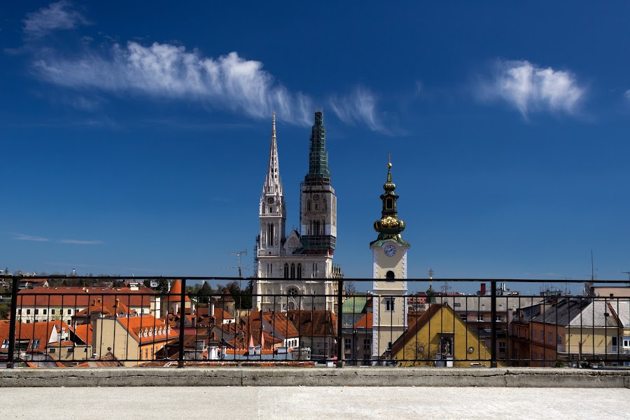 zagreb by Darko Kovac - Buildings & Architecture Public & Historical ( fence, church, blue, roofs, croatia, cathedral, travel, zagreb, city )