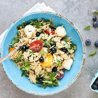 Caprese Orzo Pasta Salad with Blueberries.