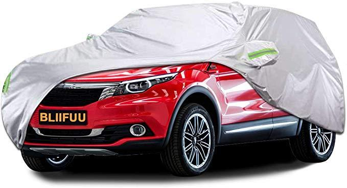 Bliifuu Car Cover,SUV Protection Cover Breathable Outdoor Indoor for All Season All Weather Waterproof/Windproof/Dustproof/Scratch Resistant Outdoor UV Protection Fits SUV Car (190''Lx75''Wx72''H)