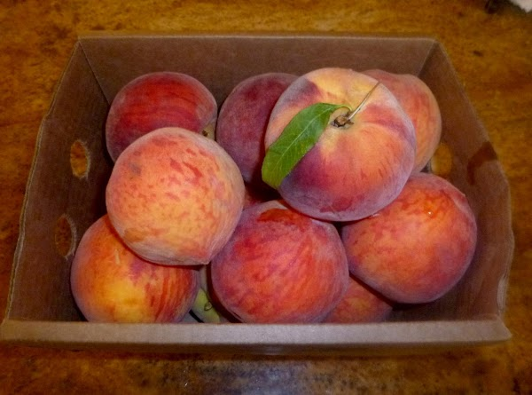 Each quart jar will require 2-3 lbs of peaches. Peel peaches. Find instructions here:http://www.justapinch.com/recipes/sauce-spread/jam/peeling-fresh-peaches.html?p=1