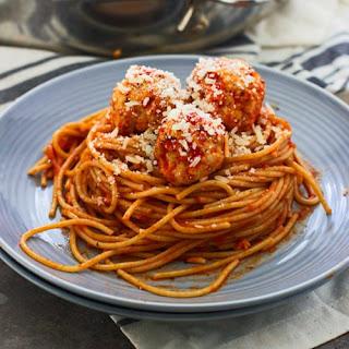 Lighter Spaghetti and Chicken Meatballs