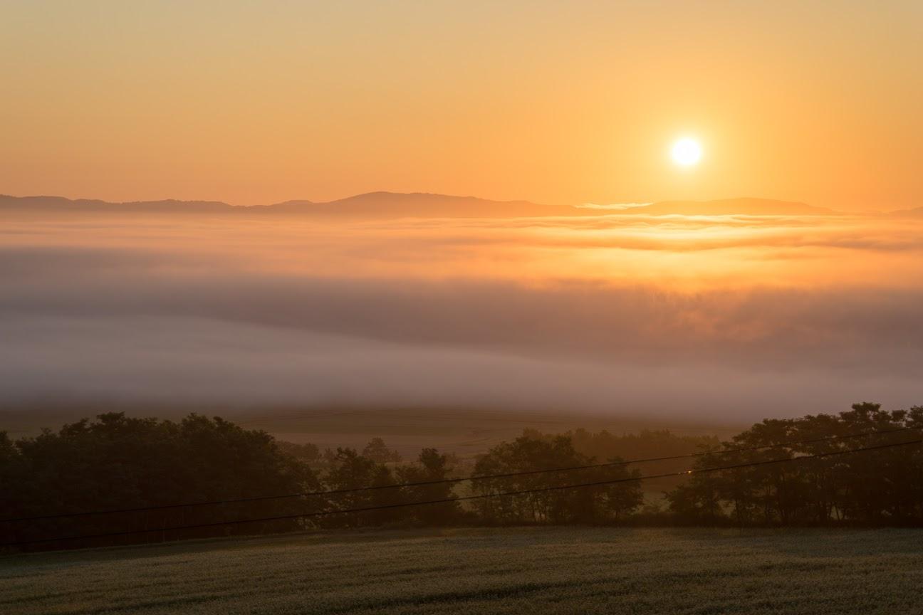 雲海に輝く金色の朝陽