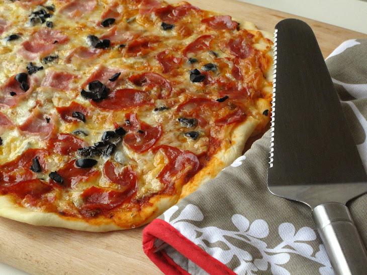 Bacon and Chorizo Pizza with Olives Recipe