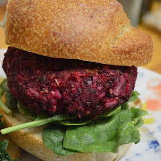 Vegan Beet + Lentil Burgers.