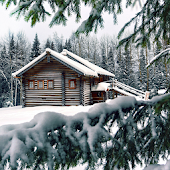 winter cabin wallpaper