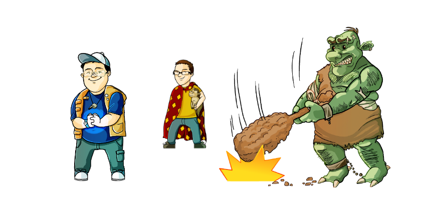 3 character images. One character holding magical dice with a blue shirt on next to a boy in a yellow shirt with a red cape holding a stuffed animal. And a large green troll smashing the ground with his club. Image for Streamlined Gaming's landing page for free art