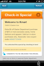 """Photo: After checking in, I """"unlocked"""" the special, which was for $5 off $25 or more in the Easter department. How great is that? All a shopper has to do is show this to the cashier and they will get  $5 off. I've already have a coupon that I got on the Kmart page on Facebook for the same deal, so I won't have to use this, but I still think it's great."""