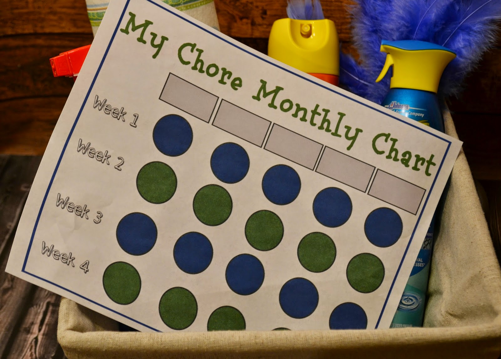 10 Minute Clean, Mommy's Little Helper, Pledge, Windex, Clean home printable chore chart by month