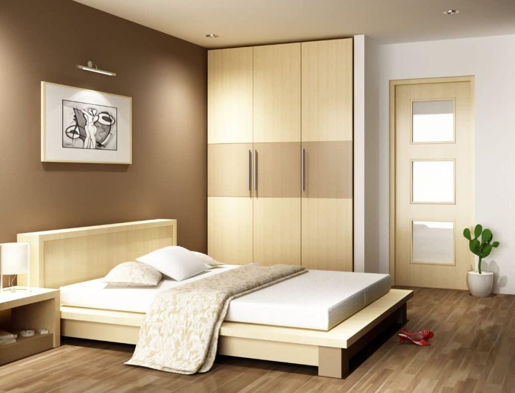 Phòng ngủ màu kem tối giản mà tinh tế.