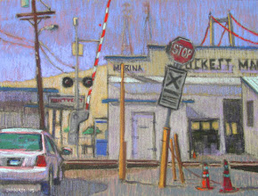 """Photo: """"Crockett Marina"""", pastel by Nancy Roberts, copyright 2015. Private collection."""