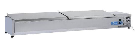 Opzetvitrine VRX2000(380) INOX OPZETKOELING GN1/3 INOX DEKSEL - 9 X GN1/3