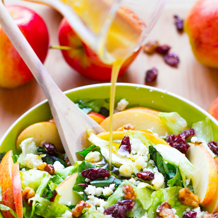 Apple Candied Walnuts and Blue Cheese Salad with Honey Apple Dressing Recipe
