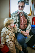 Photo: Grampa and Rasmus on the ferry