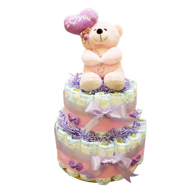 Pinky Beary Love 2 Tiers Diaper Cake by G-Ray Florist