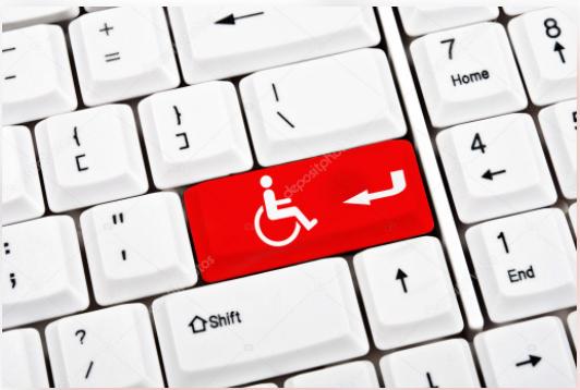 Tecla con símbolo de accesibilidad en color rojo