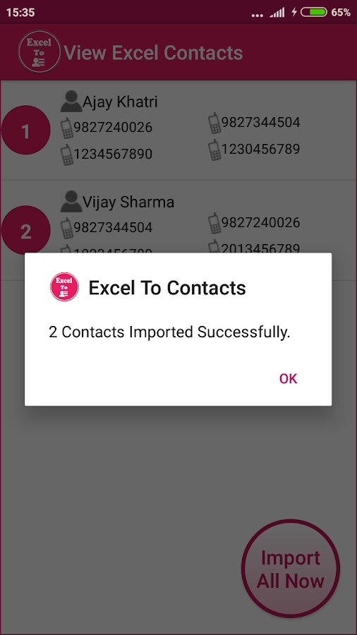 Excel To Contacts- screenshot