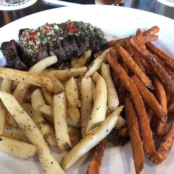 Chimichuri Steak with sweet potato and seasoned fries